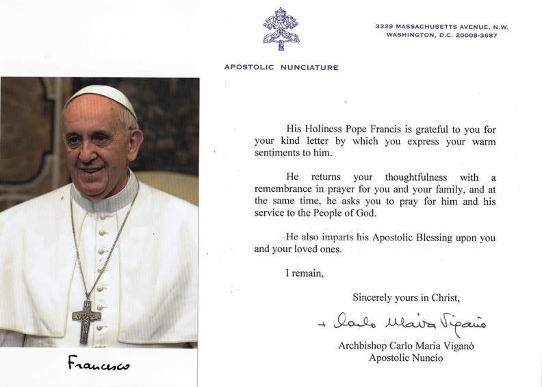 the letter with the blessing of pope francis